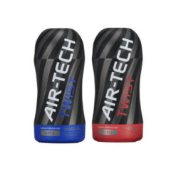 2 masturbadores Air-Tech Twist cup de color negro con ribetes de color azul y rojo